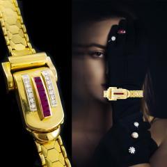 Rolex Rolex Rare Retro 1950s Vintage Ruby Diamond Bracelet Wristwatch - 867441