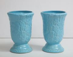 Roseville Pottery Large Scale Sky Blue Art Deco Planters Vases - 1240819