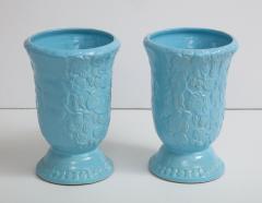 Roseville Pottery Large Scale Sky Blue Art Deco Planters Vases - 1240820