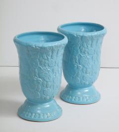Roseville Pottery Large Scale Sky Blue Art Deco Planters Vases - 1240821