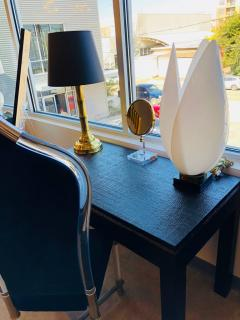 Rougier Signed Mid Century Modern Rougier Resin Lucite and Brass Tulip Table Lamp - 602309