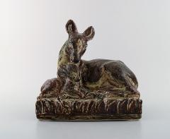 Royal Copenhagen Knud Kyhn for Royal Copenhagen Large stoneware figure no 21239 Deer with kid - 1226834