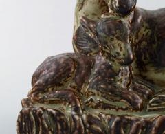 Royal Copenhagen Knud Kyhn for Royal Copenhagen Large stoneware figure no 21239 Deer with kid - 1226887