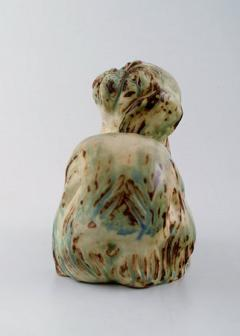 Royal Copenhagen Knud Kyhn for Royal Copenhagen stoneware figure pekingese Light sung glaze - 1226970