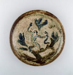 Royal Copenhagen Large round unique dish with monkey and snake Sung glaze - 1357000