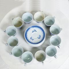 Royal Copenhagen ROYAL Copenhagen Coffee Tea Cup Saucer Set for 12 Blue Danish Modern 1960s - 1898004