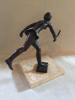Royal Copenhagen Sterrit Gittings Kelsey Bronze Tennis Player on Marble Base Royal Copenhagen - 1681316