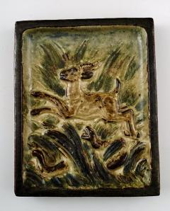 Royal Copenhagen Stoneware relief with leaping deer and aggressive snake - 1357070