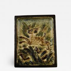 Royal Copenhagen Stoneware relief with leaping deer and aggressive snake - 1360562