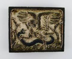 Royal Copenhagen Wall plaque in glazed stoneware with eagle and snake in relief - 1356984