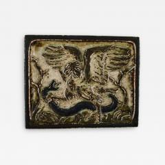 Royal Copenhagen Wall plaque in glazed stoneware with eagle and snake in relief - 1360542