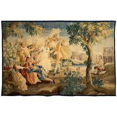 Royal Manufacture of Aubusson Sublime Aubusson Tapestry 18th Century Louis XVI Period Romantic Scene - 1307106