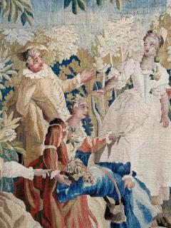 Royal Manufacture of Aubusson Sublime Aubusson Tapestry 18th Century Louis XVI Period Romantic Scene - 1307109