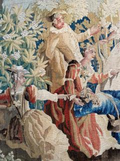 Royal Manufacture of Aubusson Sublime Aubusson Tapestry 18th Century Louis XVI Period Romantic Scene - 1307110