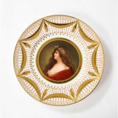 Royal Vienna Porcelain Exceptional Set of Five Royal Vienna Jeweled Porcelain Portrait Plates by Wagner - 1110888