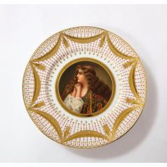 Royal Vienna Porcelain Exceptional Set of Five Royal Vienna Jeweled Porcelain Portrait Plates by Wagner - 1110893