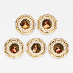 Royal Vienna Porcelain Exceptional Set of Five Royal Vienna Jeweled Porcelain Portrait Plates by Wagner - 1111244