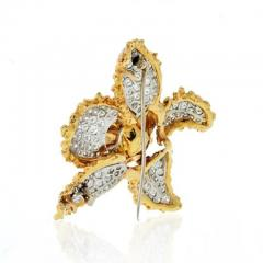 Ruser Jewelry William Ruser RUSER 1960S 18K TWO TONE FLOWER WITH PAVE SET DIAMOND LEAVES BROOCH - 1858422