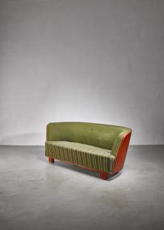 S ren Willadsen S ren Willadsen walnut and fabric sofa Denmark 1940s - 1174580