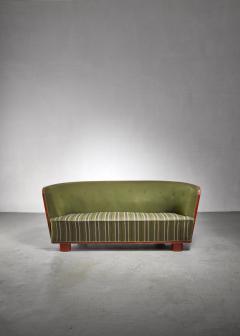 S ren Willadsen S ren Willadsen walnut and fabric sofa Denmark 1940s - 1174581
