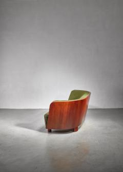 S ren Willadsen S ren Willadsen walnut and fabric sofa Denmark 1940s - 1174582