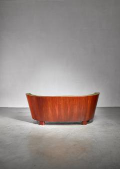 S ren Willadsen S ren Willadsen walnut and fabric sofa Denmark 1940s - 1174583