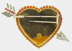 Sabbadini Sabbadini Diamond Ruby and Carved Rock Crystal Gold Heart Brooch - 163884