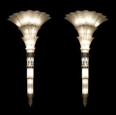 Sabino Art Glass Pair of French Art Deco Monumental Flair Shaped Glass Wall Sconces - 465300