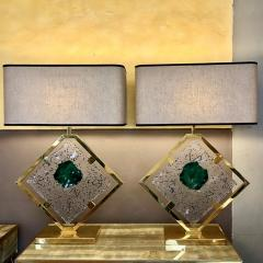 Salviati Late 20th Century Pair of Brass and Transparent Green Murano Glass Table Lamps - 1631698
