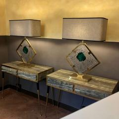 Salviati Late 20th Century Pair of Brass and Transparent Green Murano Glass Table Lamps - 1631721