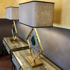 Salviati Late 20th Century Pair of Brass and Transparent Green Murano Glass Table Lamps - 1631728