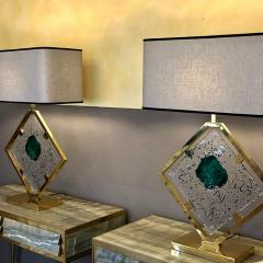 Salviati Late 20th Century Pair of Brass and Transparent Green Murano Glass Table Lamps - 1631730