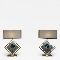 Salviati Late 20th Century Pair of Brass and Transparent Green Murano Glass Table Lamps - 1635840