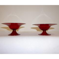 Salviati Salviati 1940s Italian Pair of Antique Ruby Red Blown Murano Glass Compote Bowls - 950009