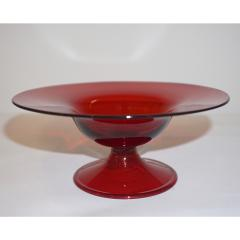 Salviati Salviati 1940s Italian Pair of Antique Ruby Red Blown Murano Glass Compote Bowls - 950011