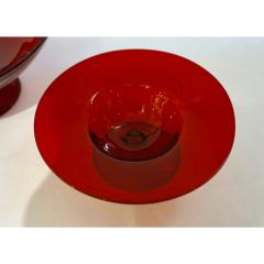Salviati Salviati 1940s Italian Pair of Antique Ruby Red Blown Murano Glass Compote Bowls - 950013