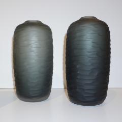 Salviati Salviati Vintage Italian Minimalist Smoked Gray Battuto Murano Art Glass Vases - 1041816