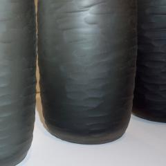 Salviati Salviati Vintage Italian Minimalist Smoked Gray Battuto Murano Art Glass Vases - 1041817