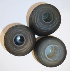 Salviati Salviati Vintage Italian Minimalist Smoked Gray Battuto Murano Art Glass Vases - 1041824