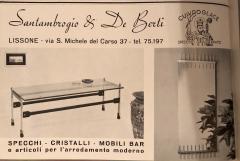 Santambrogio De Berti Rare Italian Santambrogio De Berti brass rosewood Coffee Table 1960s - 1565143