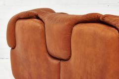Saporiti Alberto Rosselli for Saporiti Brown Leather Confidential Sofa 1970 s - 1958309