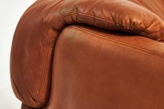 Saporiti Alberto Rosselli for Saporiti Brown Leather Confidential Sofa 1970 s - 1958313