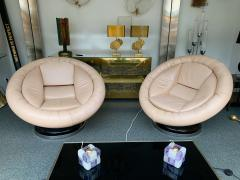 Saporiti Pair of Large Space Age Leather Armchairs by Saporiti Italy 1970s - 1226573