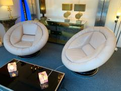 Saporiti Pair of Large Space Age Leather Armchairs by Saporiti Italy 1970s - 1226575