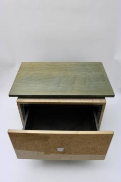 Saporiti Pair of Nightstands in Green and Tan Bird s Eye Maple Wood - 939456