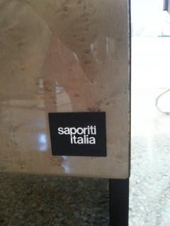 Saporiti Pair of Nightstands in Green and Tan Bird s Eye Maple Wood - 939457