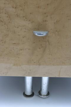 Saporiti Pair of Nightstands in Green and Tan Bird s Eye Maple Wood - 939458