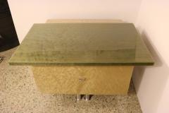 Saporiti Pair of Nightstands in Green and Tan Bird s Eye Maple Wood - 939460