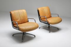 Saporiti Saporiti Cognac Leather Lounge Chairs 1970s - 1421068