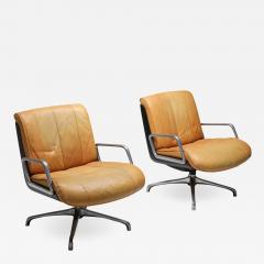 Saporiti Saporiti Cognac Leather Lounge Chairs 1970s - 1422232